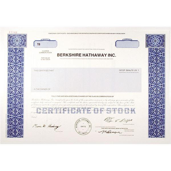Berkshire Hathaway Inc. 1996 Specimen Stock Certificate with Warren Buffett Facsimile Signature.