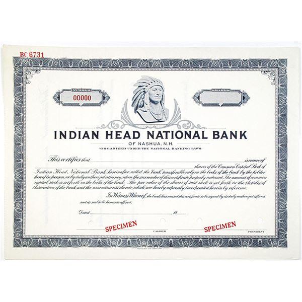 Indian Head National Bank, 1940's Specimen Stock Certificate