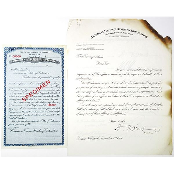 American Foreign Banking Corp., 1917 Specimen Circular Letter of Credit & Signatures Pair