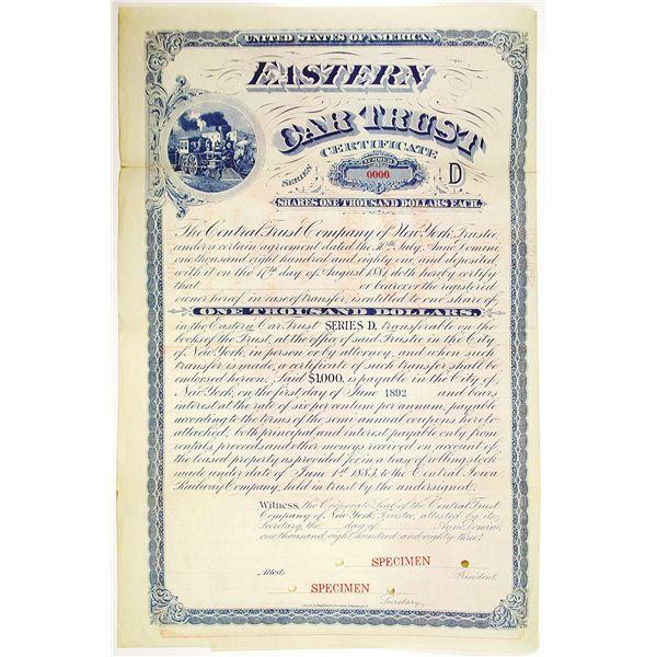 Eastern Car Trust 1883 Specimen Bond