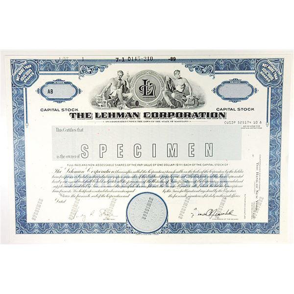 Lehman Corporation, 1989 Specimen Stock Certificate.