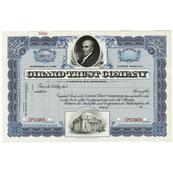 Girard Trust Company 1900-1910 Specimen Stock Certificate.