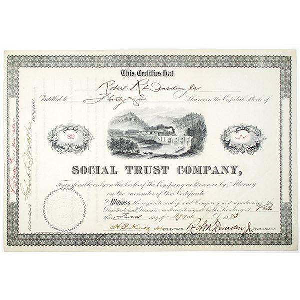 Social Trust Co. 1893 I/U Stock Certificate
