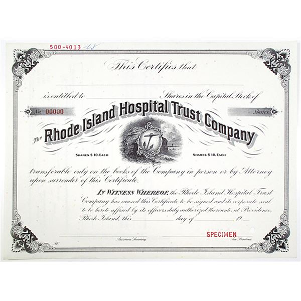 Rhode Island Hospital Trust Co. 1968 Specimen Stock Certificate