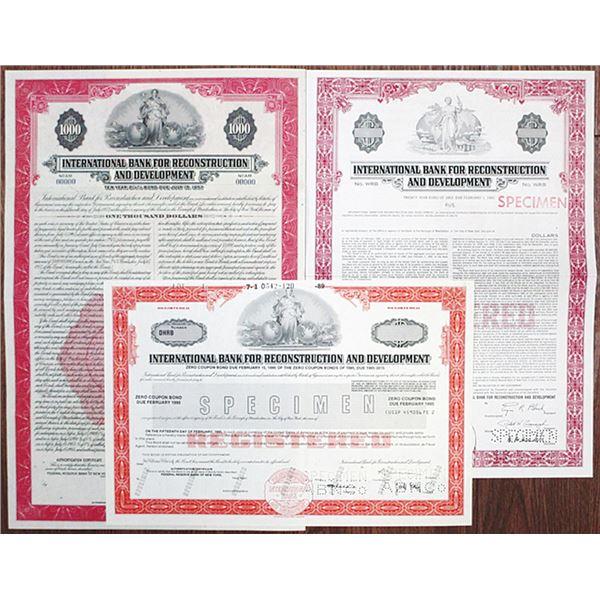 International Bank for Reconstruction and Development Specimen Bond Trio, ca. 1947-1989