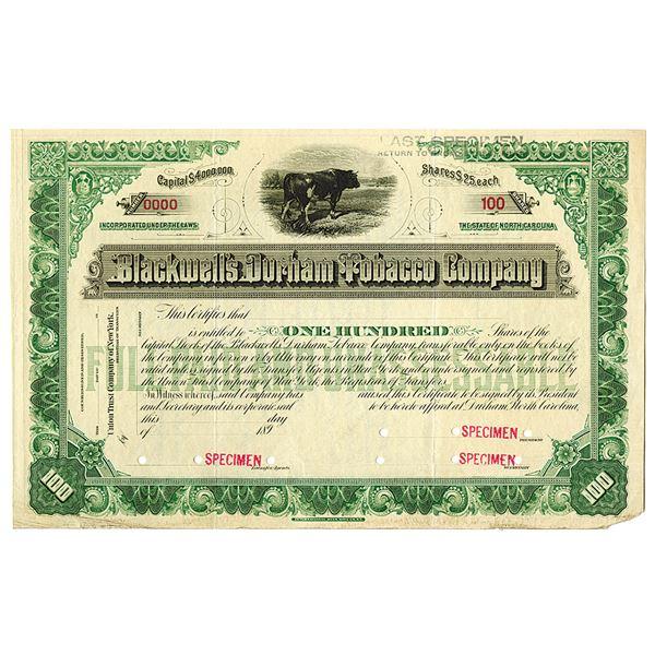 Blackwell's Durham Tobacco Co. 1890's Specimen Stock Certificate