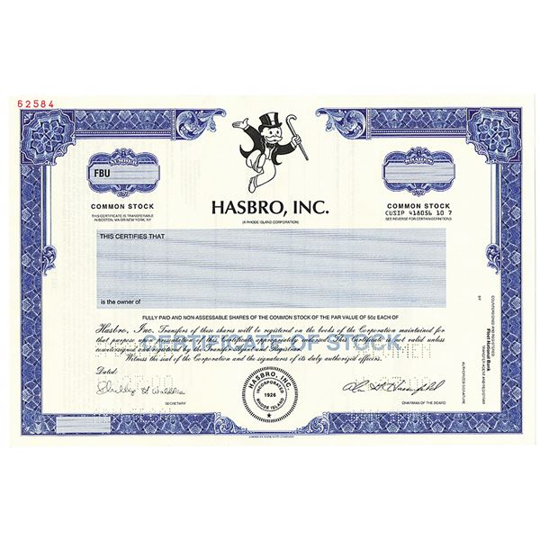 Hasbro, Inc. 2000 Specimen Stock Certificate