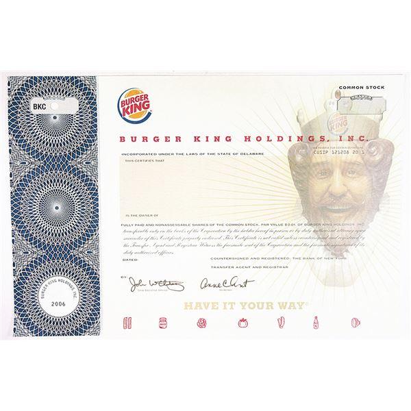 Burger King Holdings, Inc. 2006 Specimen Stock Certificate