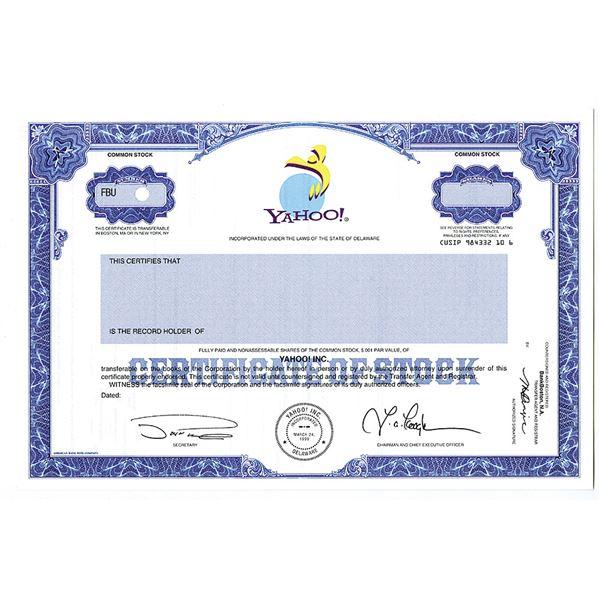 Yahoo! Inc. Specimen Possible IPO Stock Certificate