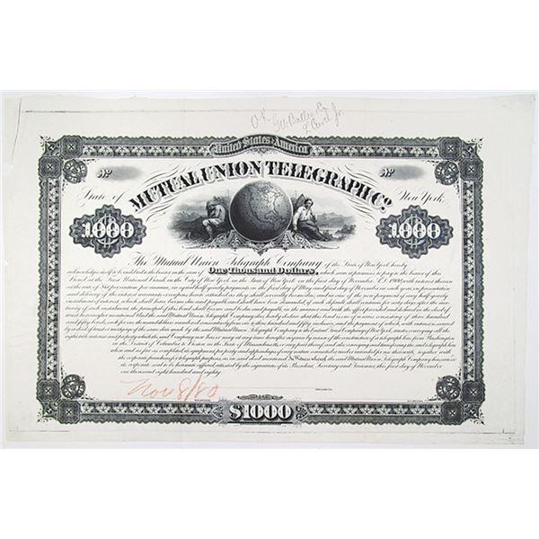 Mutual Union Telegraph Co. 1880 Unique Approval Proof Bond