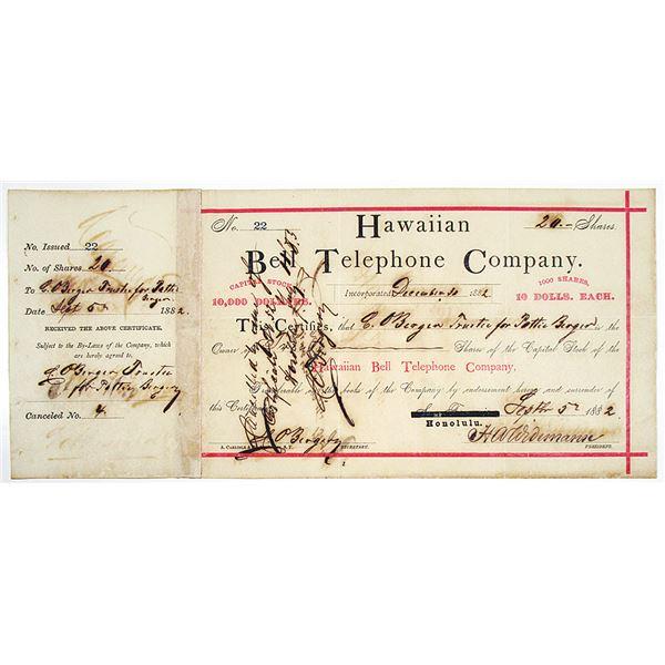 Hawaiian Bell Telephone Co. 1882 I/C Stock Certificate