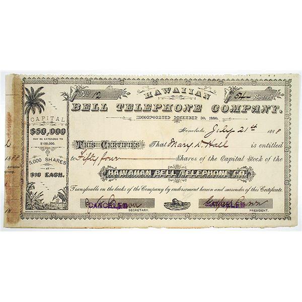 Hawaiian Bell Telephone Co. 1888 I/C Stock Certificate
