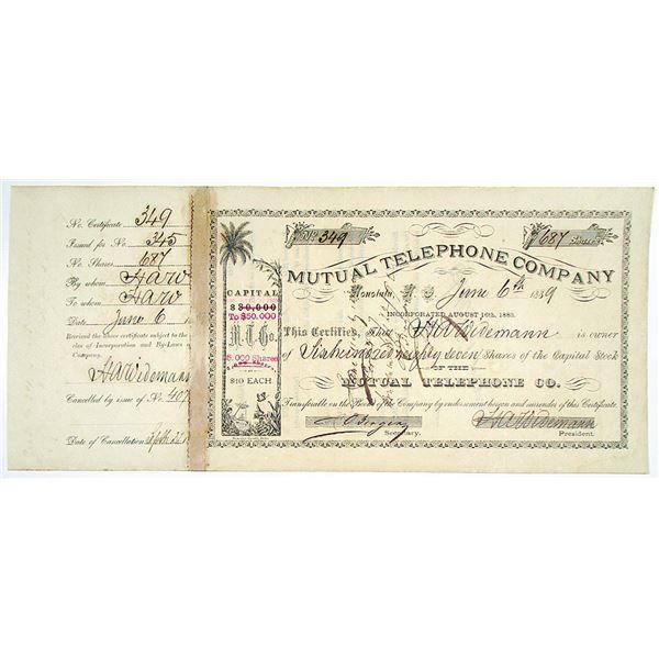 Mutual Telephone Co. 1889 I/C Stock Certificate
