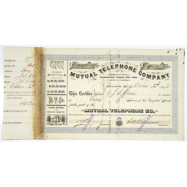 Mutual Telephone Co. 1892 I/C Stock Certificate