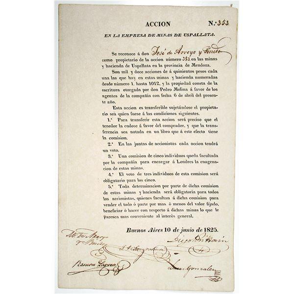 Empresa de Minas de Upsallata, 1825 Issued Share Certificate.