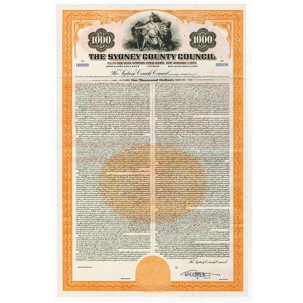 Sydney County Council 1947 Specimen bond.