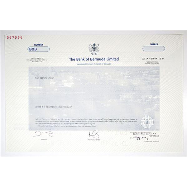 Bank of Bermuda Ltd. 2001 Specimen Stock Certificate