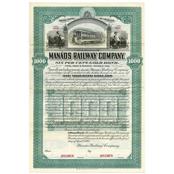 Manaos Railway Co. 1898 Specimen Bond.