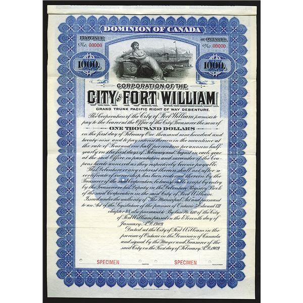 City of Fort William, 1909 Specimen Bond