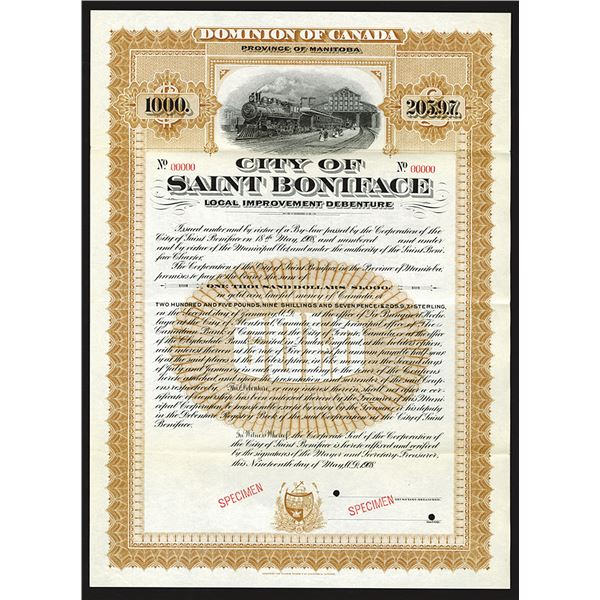 City of Saint Boniface, 1908 Specimen Bond