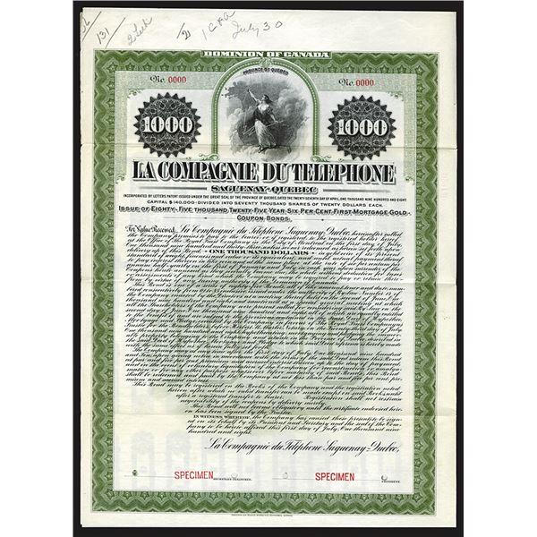 La Compagnie du Telephone, 1908 Specimen Bond