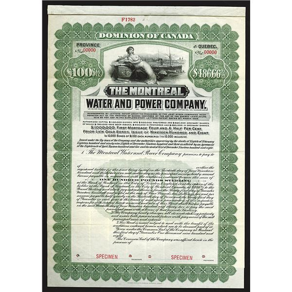 Montreal Water and Power Co., 1908 Specimen Bond
