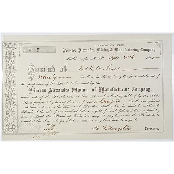 Princess Alexandra Mining & Manufacturing Co. 1865 Bond
