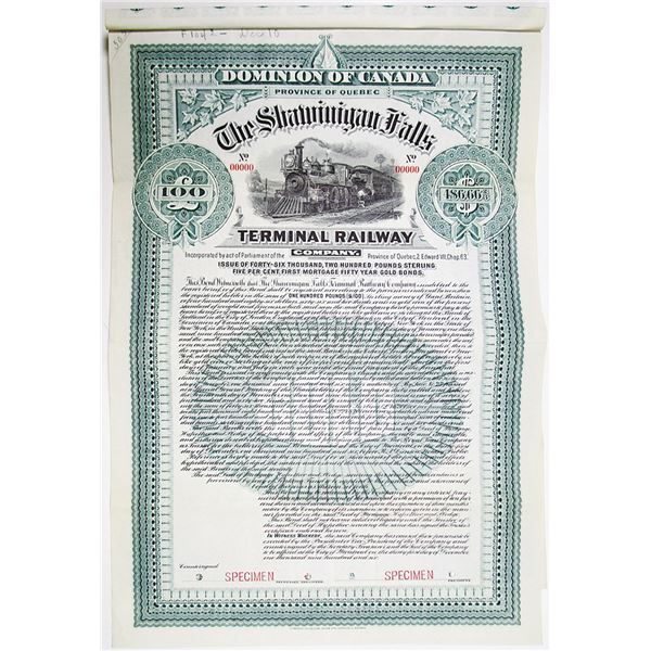 Shawinigan Falls Terminal Railway Co. 1906 Specimen Bond Rarity