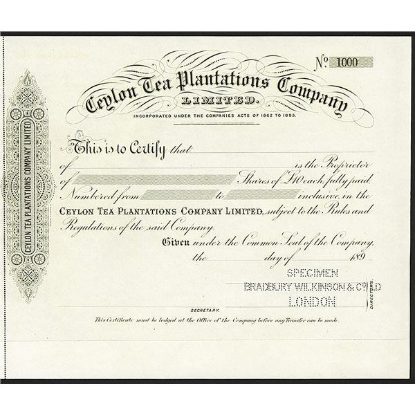 Ceylon Tea Planters Company Ltd., ca.1890's Specimen Share Certificate