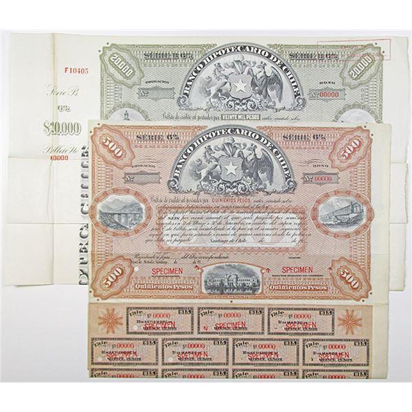 Banco Hipotecario de Chile Specimen Bond Pair
