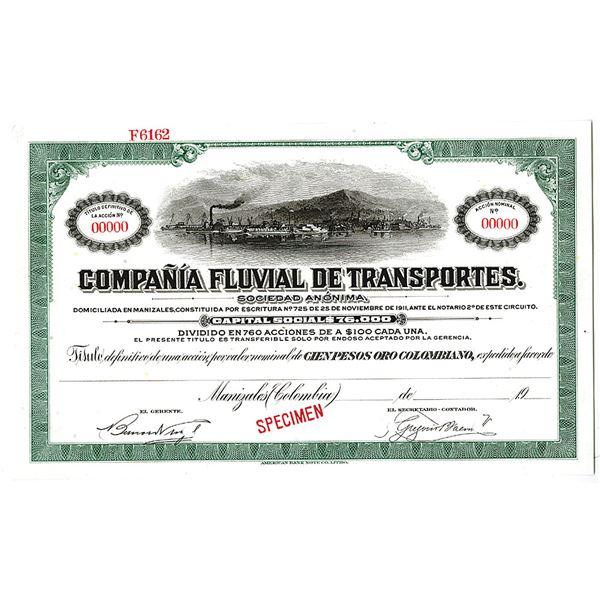 Compania Fluvial De Transportes, 1911 Specimen Share Certificate.