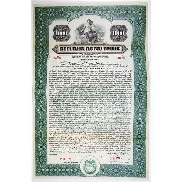 Republic of Colombia 1922 Specimen Bond
