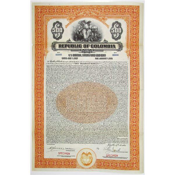 Republic of Colombia 1927 Specimen Bond