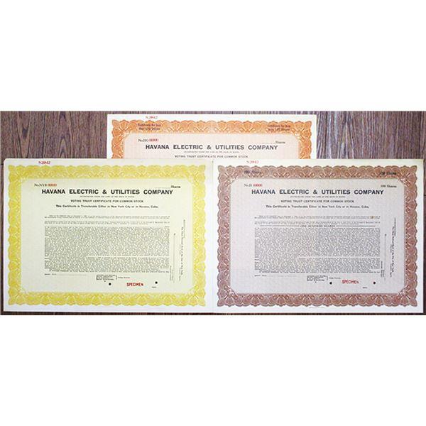 Havana Electric & Utilities Co., 1930 Specimen Stock Certificate Trio
