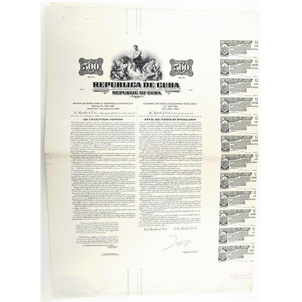 Republica de Cuba. 1954 $500 Proof Coupon Bond without Border.