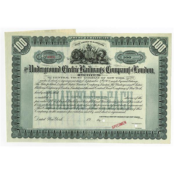 Underground Electric Railways Co. of London 1902 Specimen Share Certificate
