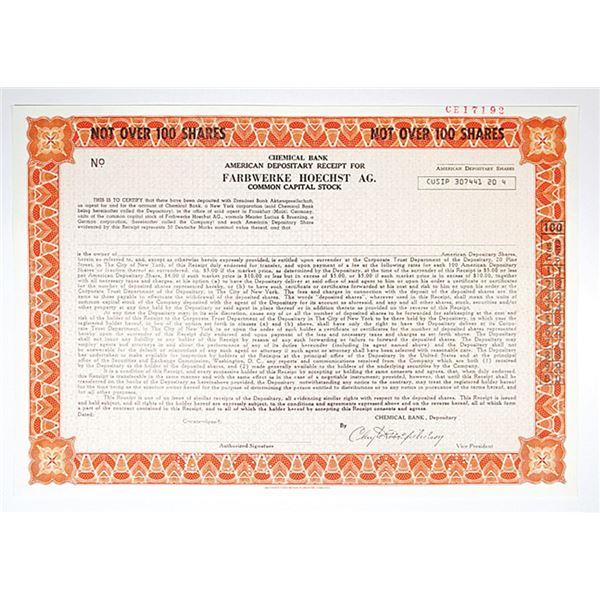 Farbwerke Hoechst AG 1975 Specimen Stock Certificate