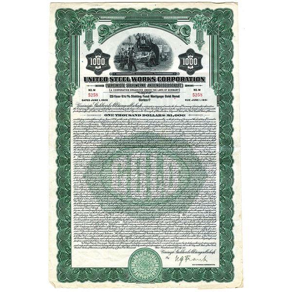 United Steel Works Corp. 1926 I/U Bond