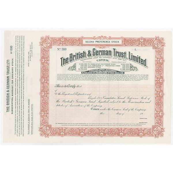 British & German Trust, Ltd., 1927 Specimen Stock Certificate