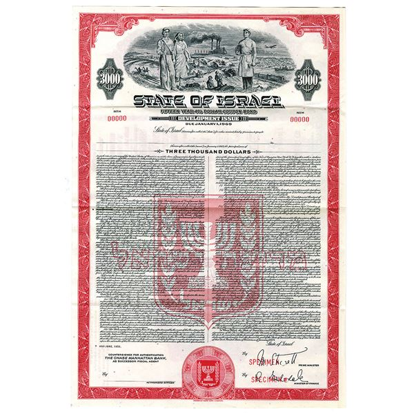 "State of Israel, 1954, ""15 Year 4% Dollar Coupon Bond - Development Issue Specimen Bond"