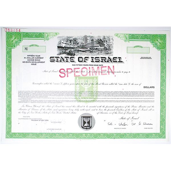 State of Israel 2005 Specimen 4% Dollar Current Income Bond