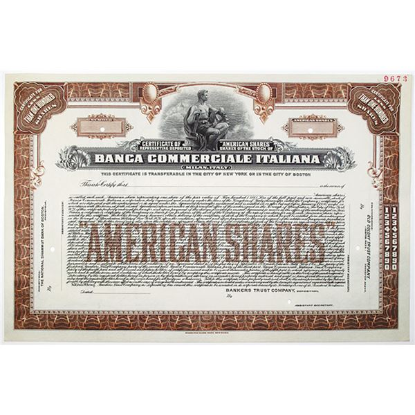 "Banca Commerciale Italiana, 1928 Specimen Certificate of ""American shares"" Stock Certificate"