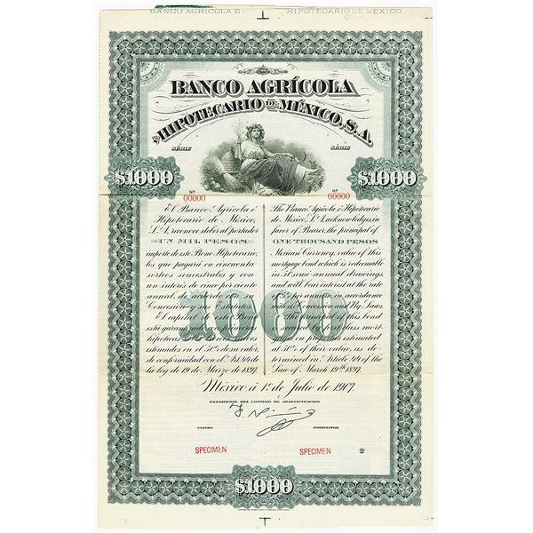 Banco Agricola e Hipotecario De Mexico, 1907 Specimen Bond