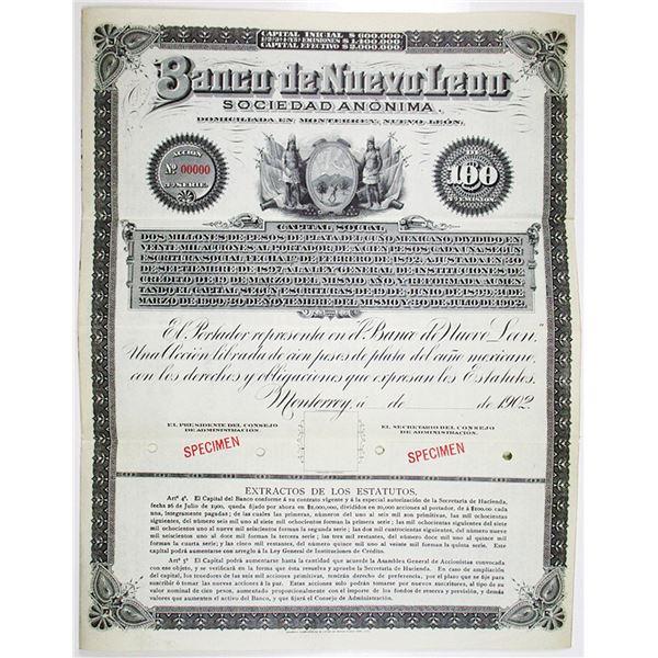 Banco de Nuevo Leon 1902 Specimen Bond