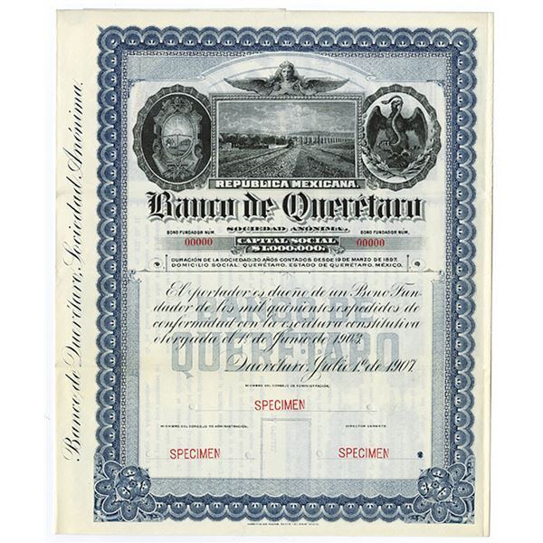 Banco De Queretaro, 1907 Specimen Bond