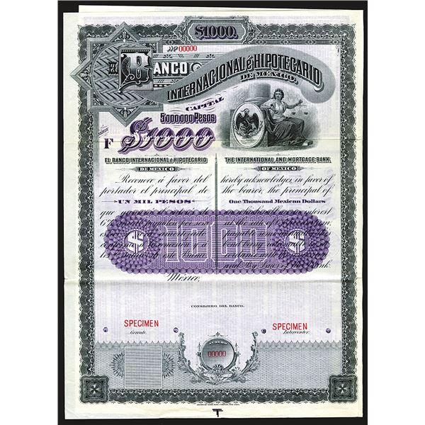 Banco Internacional e Hipotecario de Mexico 1905 Specimen Bond.
