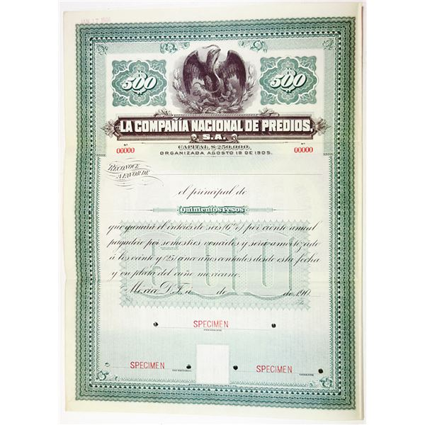 La Compania Nacional de Predios, 1906 Specimen Bond.