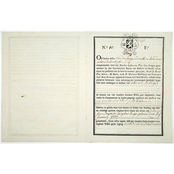 Lyf-Rent Societeyt, Societe Viagere 1788 Historic Tontine - Bond in Written in Flemish