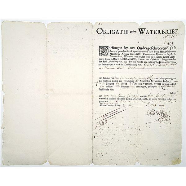 Obligatie ofte Waterbrief, 1757 Land Bond