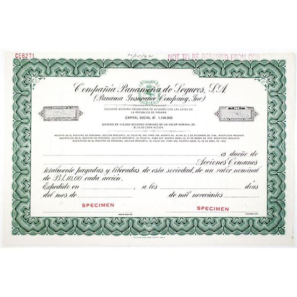 Panama Insurance Co., Inc. 1962 Specimen Stock Certificate